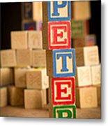 Peter - Alphabet Blocks Metal Print