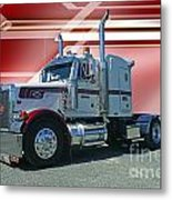 Peterbilt With Burgundy Abstract Metal Print