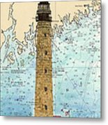 Petit Manan Island Lighthouse Me Nautical Chart Map Art Metal Print