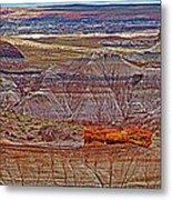 Petrified Log On Overlook Near Blue Mesa In Petrified Forest National Park-arizona   Metal Print