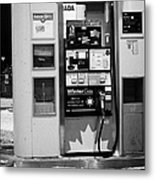 petro canada winter gas fuel pump at service station Regina Saskatchewan Canada Metal Print