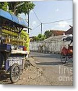 Petrol Stall And Cyclo Taxi In Solo City Indonesia Metal Print