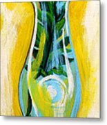 Petunia In Vase With Yellow Background Metal Print by Genevieve Esson