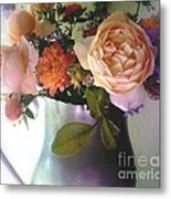 Pewter Vase With Bouquet Metal Print
