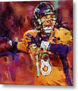 Peyton Manning Abstract 2 Metal Print by David G Paul