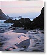 Pfeiffer Beach Rocks, Purple Sand And Metal Print