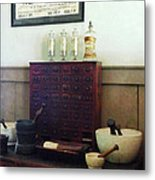 Pharmacist - Desk With Mortar And Pestles Metal Print