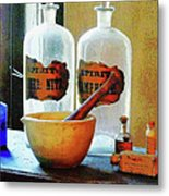 Pharmacist - Mortar And Pestle With Bottles Metal Print