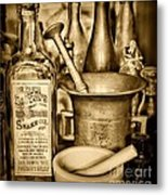 Pharmacy - Snake Oil -  Black And White Metal Print