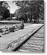 Phelps Ny Train Station In Black And White Metal Print
