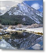 Phi Kappa Mountain Reflected In River Metal Print