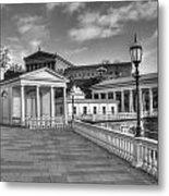 Philadelphia Art Museum And Waterworks 11 Bw Metal Print
