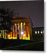 Philadelphia Art Museum  At Night From The Rear Metal Print by Bill Cannon