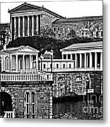 Philadelphia Art Museum At The Water Works In Black And White Metal Print