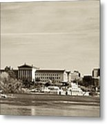 Philadelphia Art Museum With Cityscape In Sepia Metal Print