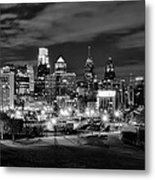 Philadelphia Black And White Cityscape Metal Print