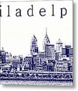Philadelphia Blueprint  Metal Print by Olivier Le Queinec