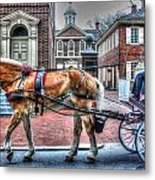 Philadelphia Carpenter's Hall Front View And Horse Metal Print