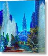 Philadelphia City Hall And Swan Fountain 2  Metal Print