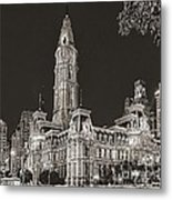 Philadelphia City Hall Mono Metal Print
