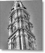 Philadelphia City Hall Tower Bw Metal Print