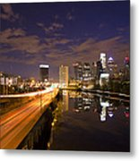 Philadelphia Cityscape From South Street At Night Metal Print