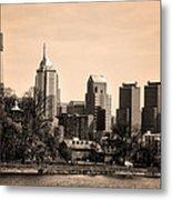 Philadelphia Cityscape In Sepia Metal Print