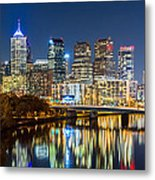 Philadelphia Cityscape Panorama By Night Metal Print