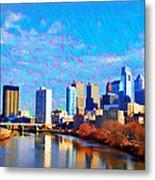Philadelphia Cityscape Rendering Metal Print