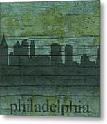 Philadelphia Pennsylvania Skyline Art On Distressed Wood Boards Metal Print