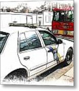 Philadelphia Police Car Metal Print by Fiona Messenger