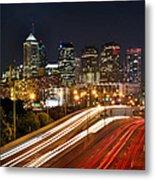 Philadelphia Skyline At Night In Color Car Light Trails Metal Print