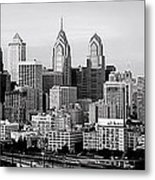 Philadelphia Skyline Black And White Bw Pano Metal Print
