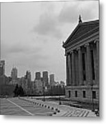 Philadelphia Skyline Black And White Metal Print