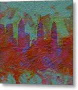 Philadelphia Skyline Brick Wall Mural Metal Print