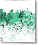Philadelphia Skyline In Green Watercolor On White Background Metal Print