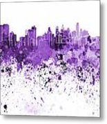 Philadelphia Skyline In Purple Watercolor On White Background Metal Print