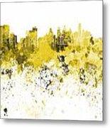 Philadelphia Skyline In Yellow Watercolor On White Background Metal Print