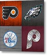 Philadelphia Sports Fan Recycled Vintage Pennsylvania License Plate Art Flyers Eagles 76ers Phillies Metal Print