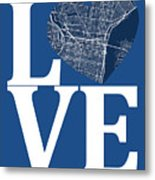 Philadelphia Street Map Love - Philadelphia Pennsylvania Texas R Metal Print