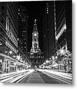 Philadephia City Hall -- Black And White Metal Print