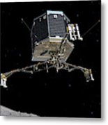 Philae Lander Descending To Comet 67pc-g Metal Print