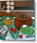 Philippine Still Life With Fish And Coconuts Metal Print