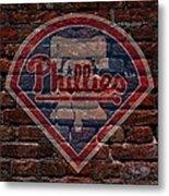 Phillies Baseball Graffiti On Brick  Metal Print by Movie Poster Prints