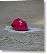Phillies Hat On Home Plate Metal Print