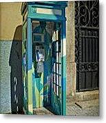 Phone Booth In Blues - Oporto Metal Print