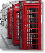 Phone Boxes On The Royal Mile Metal Print