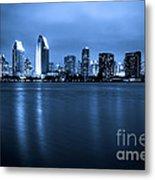 Photo Of San Diego At Night Skyline Buildings Metal Print