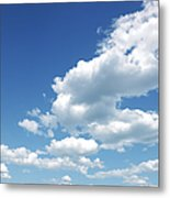 Photo of some white whispy clouds and blue sky cloudscape Metal Print