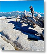 Photographer On Top Of Sentinel Dome In Yosemite Np-ca  Metal Print